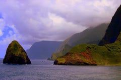 Kaluuapapa. Section of Molakai'i in Hawaii Stock Image