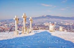 Kalvarienberg in Nitra-Stadt mit Zobor-Hügel, Slowakei Lizenzfreie Stockbilder