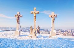 Kalvarienberg in Nitra-Stadt, Slowakei, religiöser Platz Stockfotos