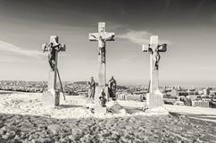 Kalwaryjski w Nitra mieście, Sistani, religijny miejsce, bezbarwny Obraz Royalty Free
