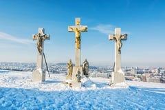Kalwaryjski w Nitra mieście, Sistani, religijny miejsce, zimy scena Zdjęcie Stock
