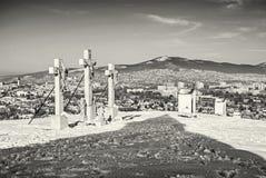 Kalwaryjski w Nitra mieście z Zobor wzgórzem, Sistani, bezbarwny Obrazy Stock