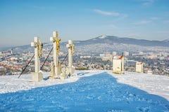 Kalwaryjski w Nitra mieście z Zobor wzgórzem, Sistani, zimy scena Zdjęcie Royalty Free