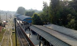 Kalyani järnvägsstation på Kalyani, västra Bengal Royaltyfri Bild