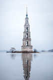 Kalyazin flooded orthodox church on Volga river in Russia Stock Images