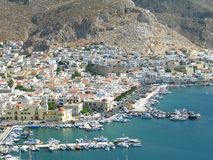 Kalymnos Aerial View. An aerial view of the port of Kalymnos, Greece stock photography