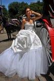 Kalyn Hemphill di modello posa davanti al trasporto del cavallo al tiro di foto nuziale di Irina Shabayeva gli ss 2016 Immagine Stock Libera da Diritti
