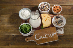 Kalzium Rich Foods Sources Lizenzfreie Stockbilder