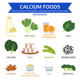 Kalziumnahrungsmittel, Lebensmittelinformationsgraphik, Ikonenvektor stockfoto