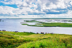 Kama reservoir landscape. View from steep bank on Kama Reservoir on the Inva River Stock Photo