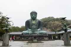 KAMAKURA, JAPAN  ,9 April 2016: Famous monumental bronze statue. Of the great buddha   (Daibutsu) in Kotokuin Temple, Kanagawa prefecture, Kanto region, Japan Stock Photography