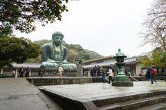 KAMAKURA, JAPAN  ,9 April 2016: Famous monumental bronze statue. Of the great buddha   (Daibutsu) in Kotokuin Temple, Kanagawa prefecture, Kanto region, Japan Royalty Free Stock Photography