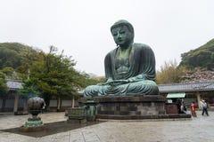 KAMAKURA, JAPAN April 9: Monumental famous bronze statue of the. Great buddha   & x28;Daibutsu& x29; in Kotokuin Temple, Kanagawa prefecture, Kanto region Royalty Free Stock Images
