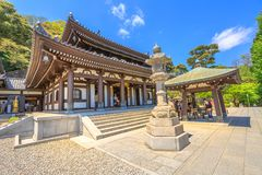 Main hall Hase-dera Temple. Kamakura, Japan - April 23, 2017: tourists in front of Kannon-do or Main hall of Hase-dera Temple in Kamakura. Hase-dera Buddhist Royalty Free Stock Photo