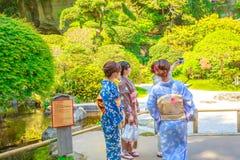 Hokoku-ji selfie in kimono stock images
