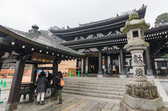 KAMAKURA, JAPAN- January 29, 2016: Hase-dera temple with rain Royalty Free Stock Photography