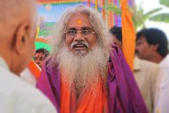 Kamala Ananda Bharata Swami i Tirupati, Indien, Februari 4, 2018 Royaltyfri Fotografi