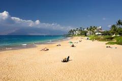 Kamaole II strand, södra kust av Maui, Hawaii Arkivfoton