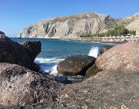 Kamari海滩圣托里尼 免版税库存图片
