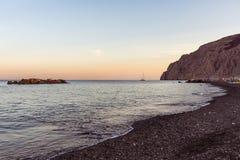 Kamari beach - Santorini Cyclades island - Aegean sea - Greece. View of Kamari beach - Santorini Cyclades island - Aegean sea - Greece royalty free stock photos