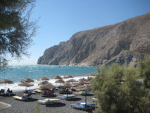 Kamari beach, Santorini Stock Image