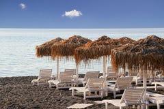 Kamari beach,Santorini Stock Photo