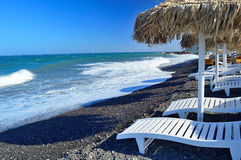 Kamari beach, Santorini Stock Images