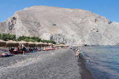 Kamari Black Beach Santorini Royalty Free Stock Photo