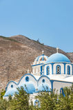Kamari church and mountain Royalty Free Stock Image