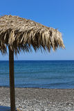 Kamari-Strand Santorini Stockfotografie