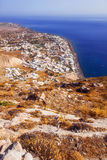 Kamari village as seen from the Ancient Thera ruins, Santorini Stock Images