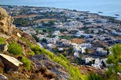 Kamari village seen from the mountain,Santorini Stock Images
