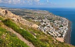 Kamari xillage at Santorini island in Greece Stock Photo