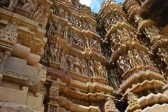 Kajuraho, temples of Kamasutra. The Kamasutra temples of 12th century.  Hundreds of gorgeous sculptures Stock Image