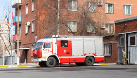 Kamaz as a Russian fire engine, stands near garage Stock Image