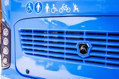 KAMAZ logo and stickers on the bus or electric bus stock images