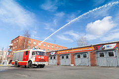 Kamaz truck as a Russian fire engine with water jet Royalty Free Stock Images