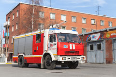 Kamaz 43253 truck, red Russian fire engine Stock Photography