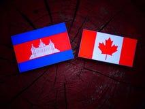 Kambodżańska flaga z kanadyjczyk flaga na drzewnym fiszorku odizolowywającym obraz royalty free