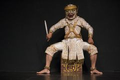 Kambodżańskich sztuk tradycyjny kulturalny taniec mówi historię Apsara i inny Zdjęcia Royalty Free