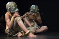 Kambodżańskich sztuk tradycyjny kulturalny taniec mówi historię Apsara i inny Fotografia Stock