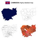 Kambodża - Odosobniona wektor wysoce szczegółowa polityczna mapa z ponownym Zdjęcie Royalty Free