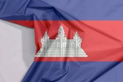 Kambodża tkaniny flaga zagniecenie z biel przestrzenią i krepa fotografia royalty free