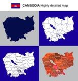 Kambodża - wektor wysoce szczegółowa polityczna mapa z regionami, pr Fotografia Royalty Free