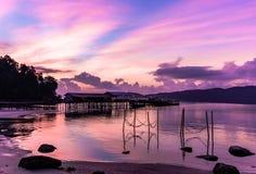 Kambodża Wschód słońca widok od laguny obraz royalty free