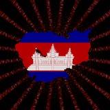 Kambodża mapy flaga na czerwonej hex kodu wybuchu ilustraci Fotografia Royalty Free