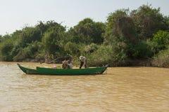 Kambodża. Rzeczny Tonselap Fotografia Royalty Free