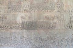 Kambodja Angkor Wat Bas Relief Gallery Deze gravures die het dagelijkse leven tonen tijdens die tijd royalty-vrije illustratie