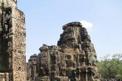 Kambodja Angkor Wat Bayon Head Steengezicht van god bovenop Angkor Thom stock foto
