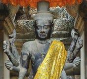 Kambodja; Angkor wat; Beeldhouwwerk van een Siva royalty-vrije stock foto's
